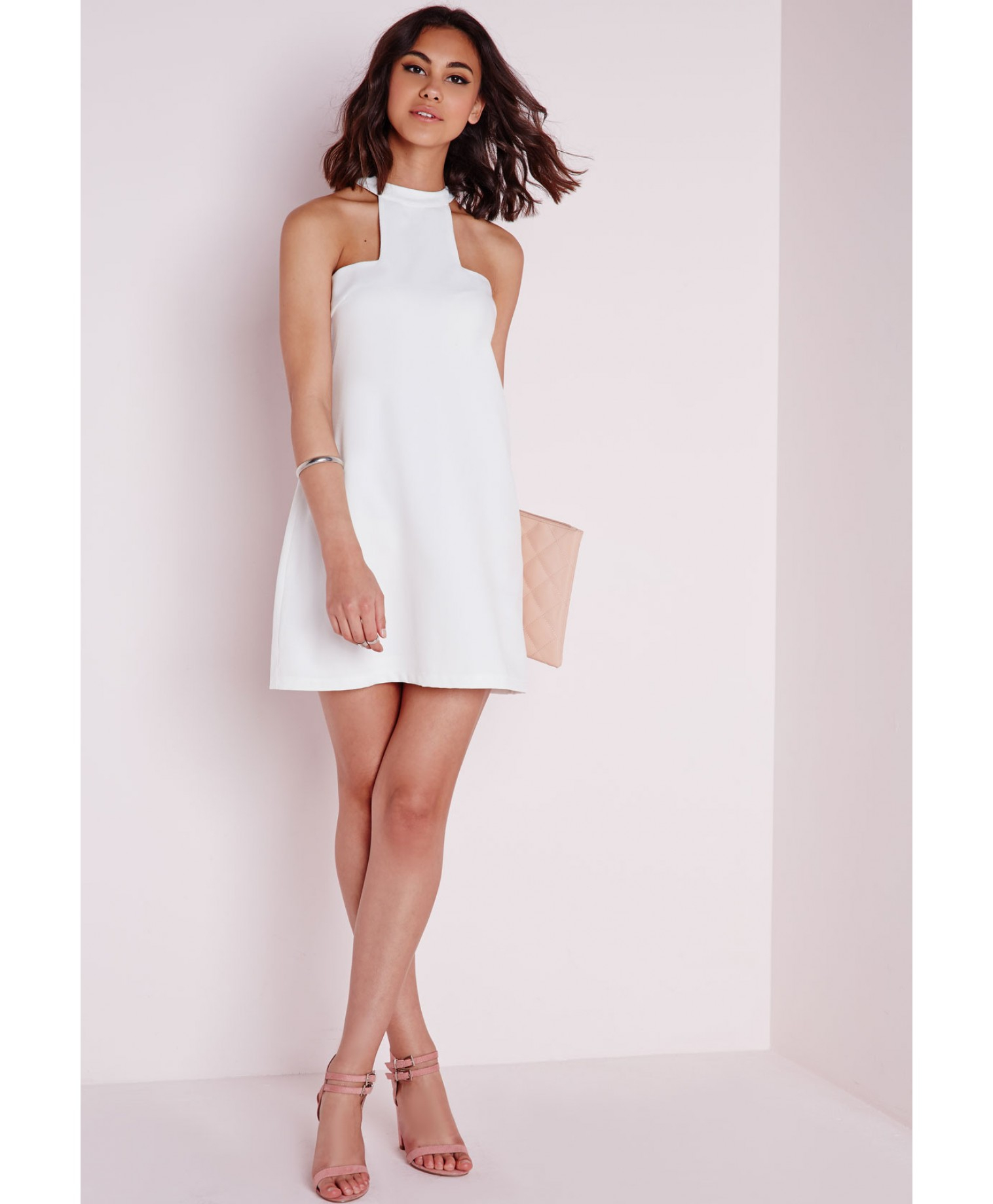 Missguided High Neck Cut Away Shift Dress White in White | Lyst