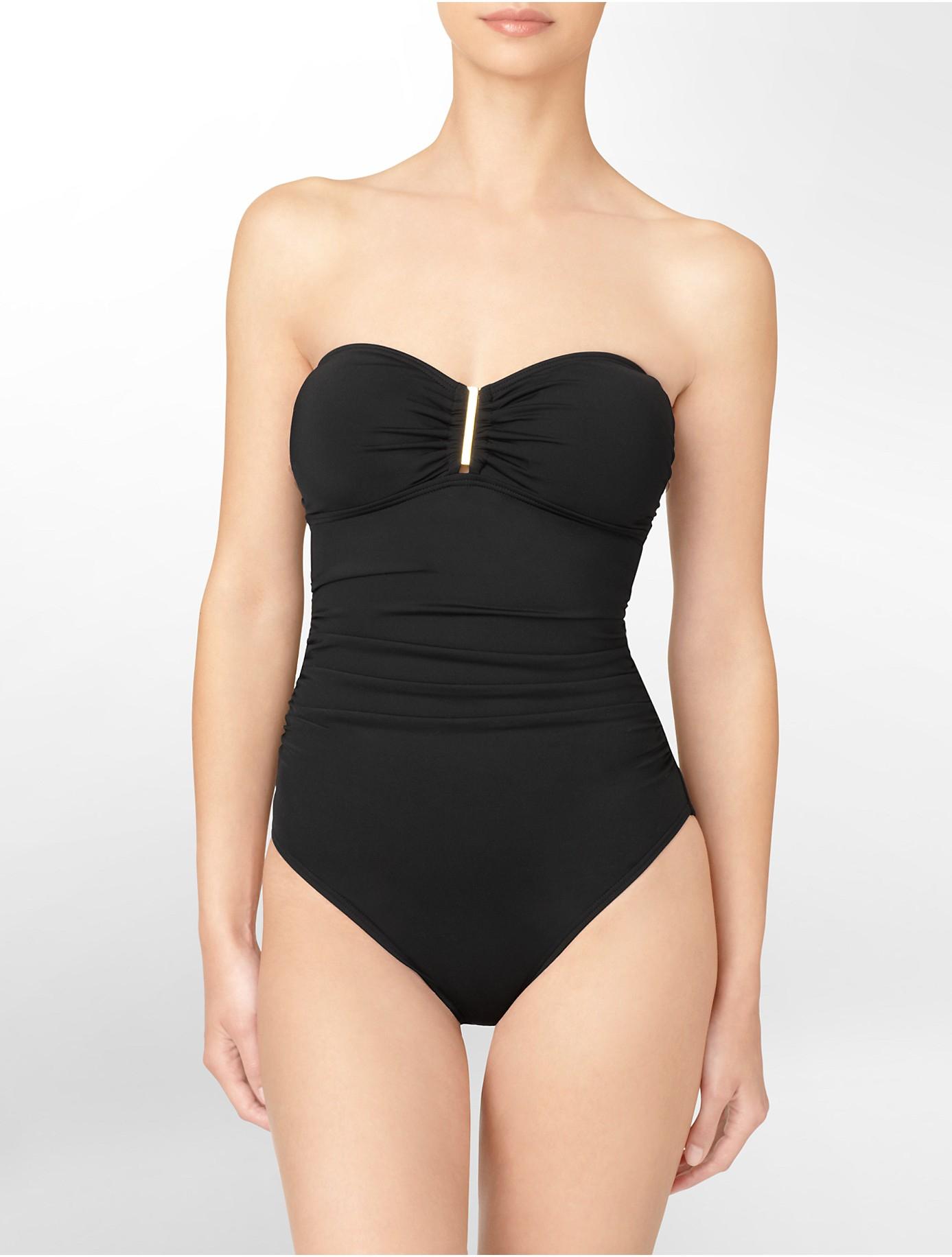 Calvin klein Bandeau Tie Strapless One-piece Swimsuit in ...