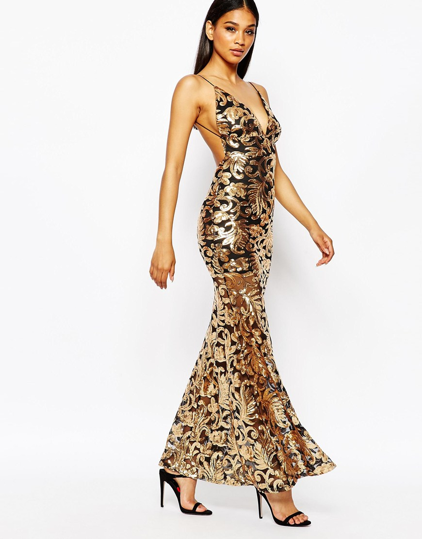 Club L Showstopper Open Back Sequin Maxi Dress With