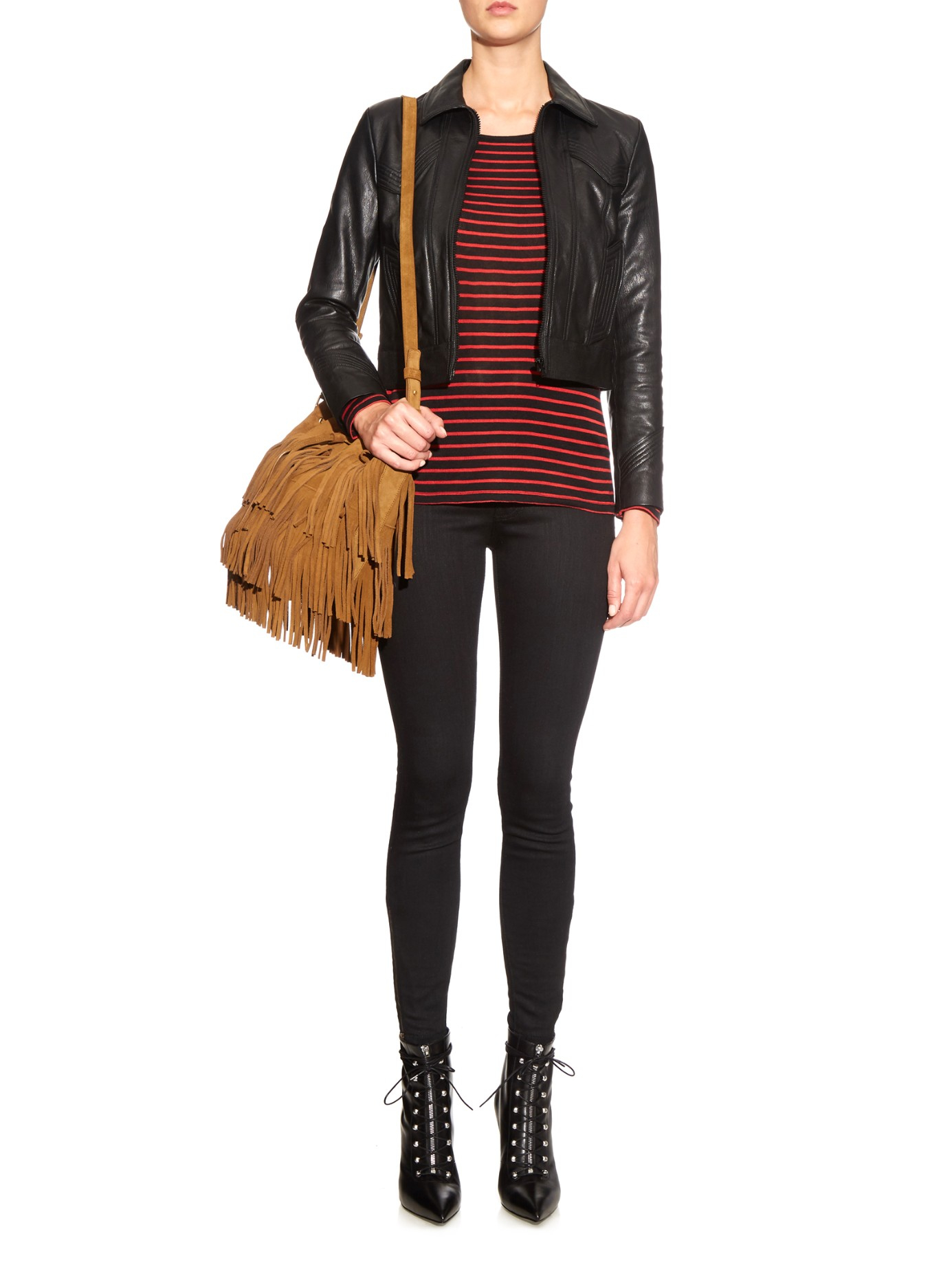 yves saint laurent cabas chyc satchel large - emmanuelle suede leopard-print fringe bucket bag, tan/black
