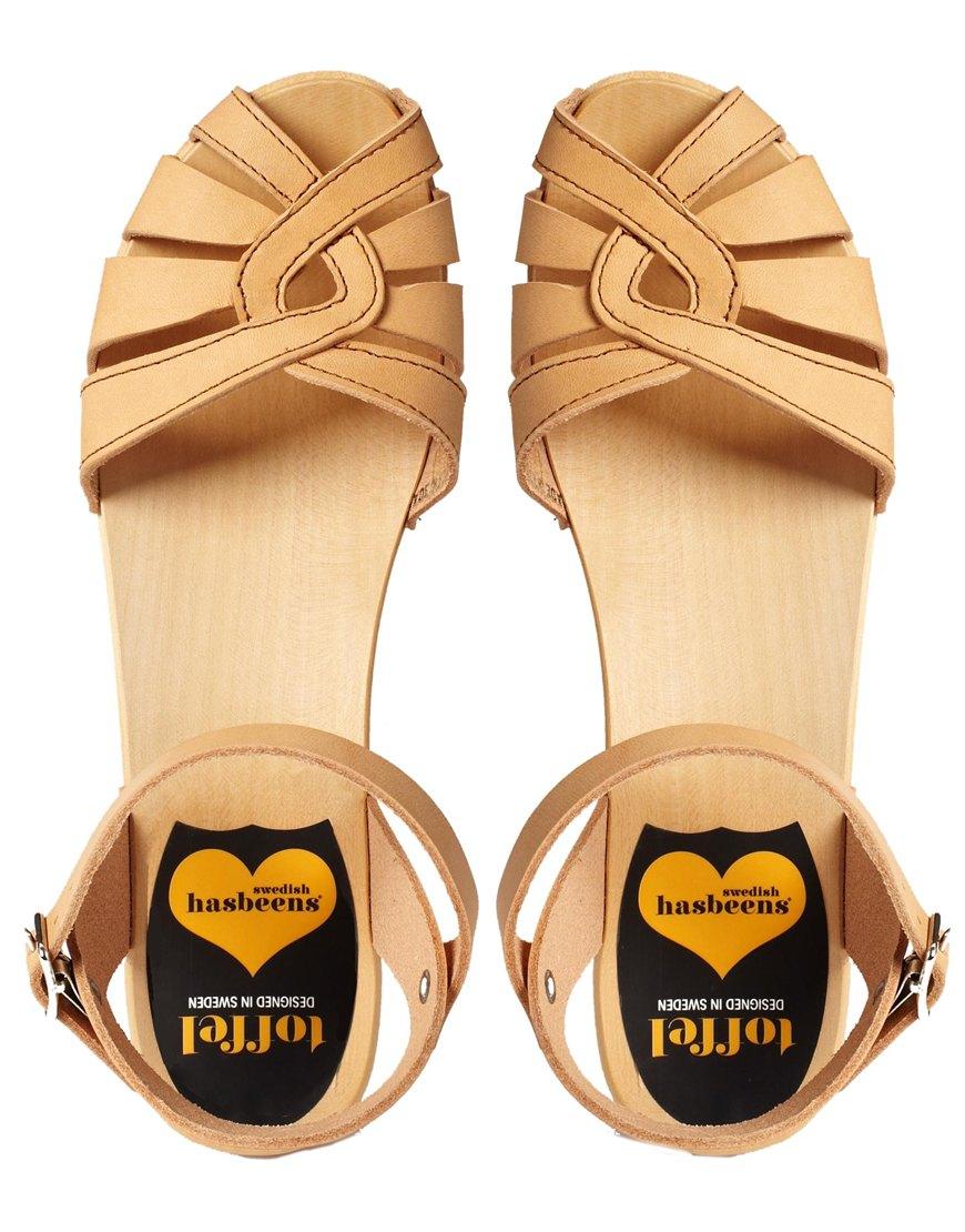 5cbd7a9f9fc Swedish Hasbeens Natural Nature Cross Strap Debutant Flat Sandals