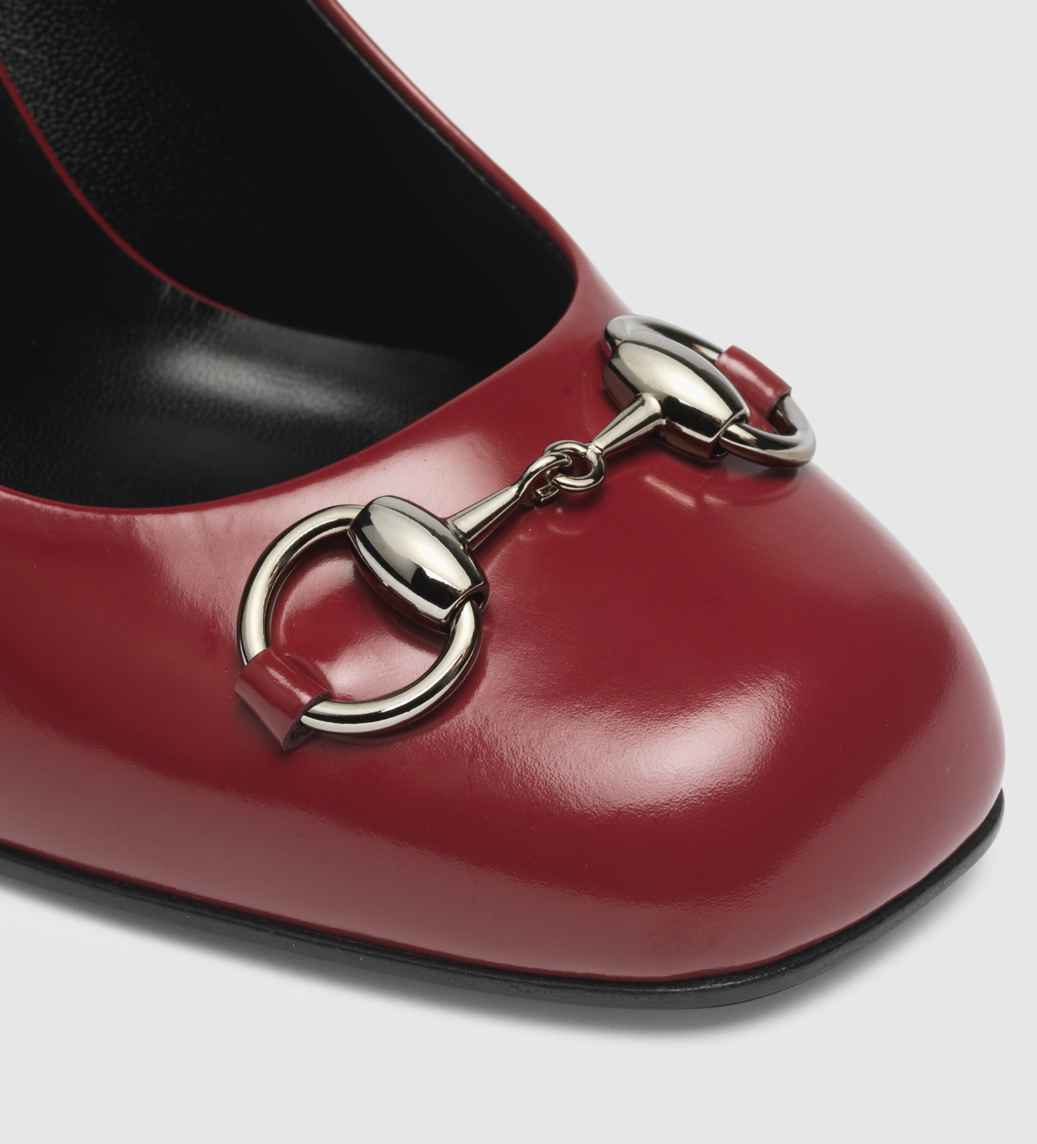 5d1a6703965 Gucci Polished Leather Horsebit Loafer Pump in Red - Lyst