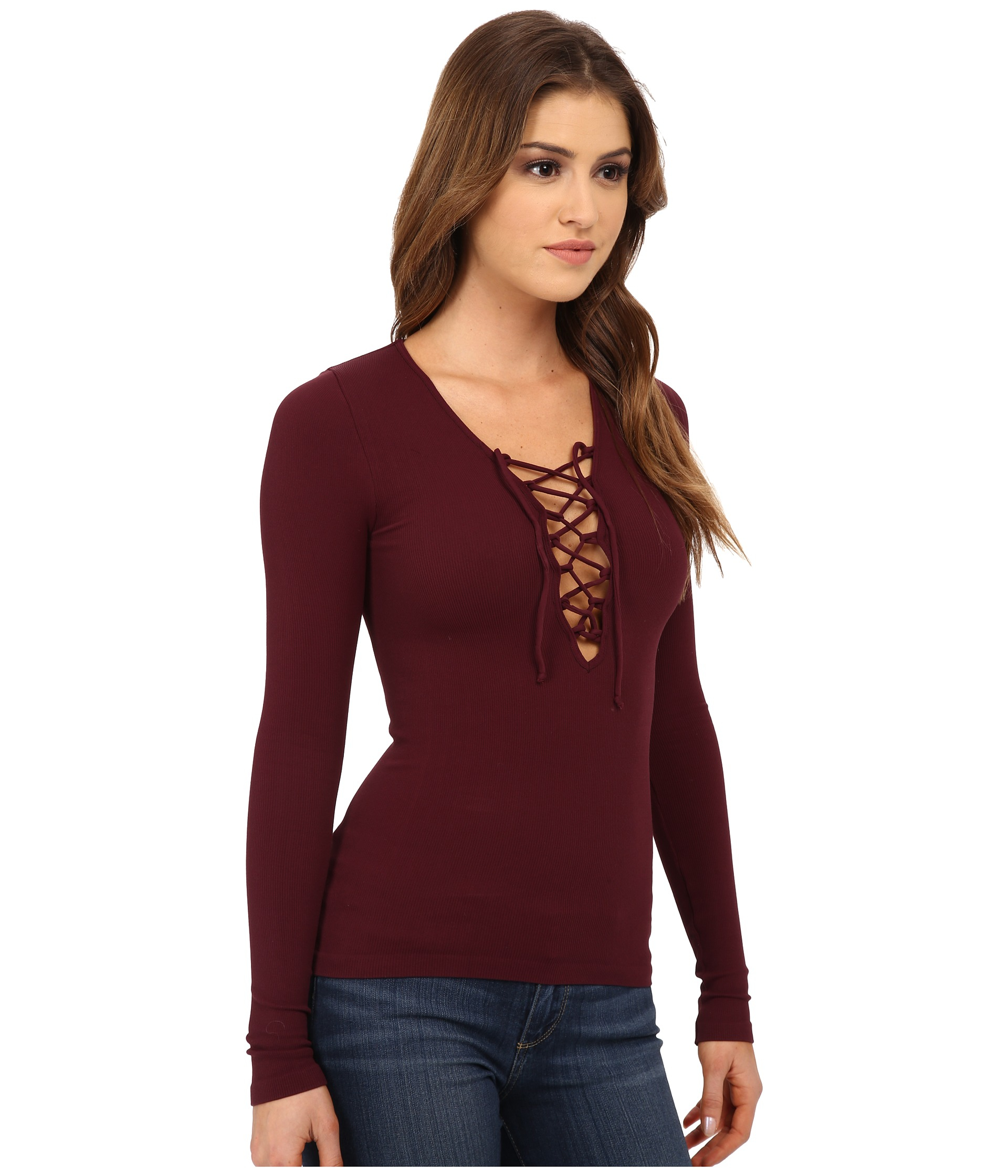 24f6428dfb Lyst - Free People Lace-up Layering Tee in Purple