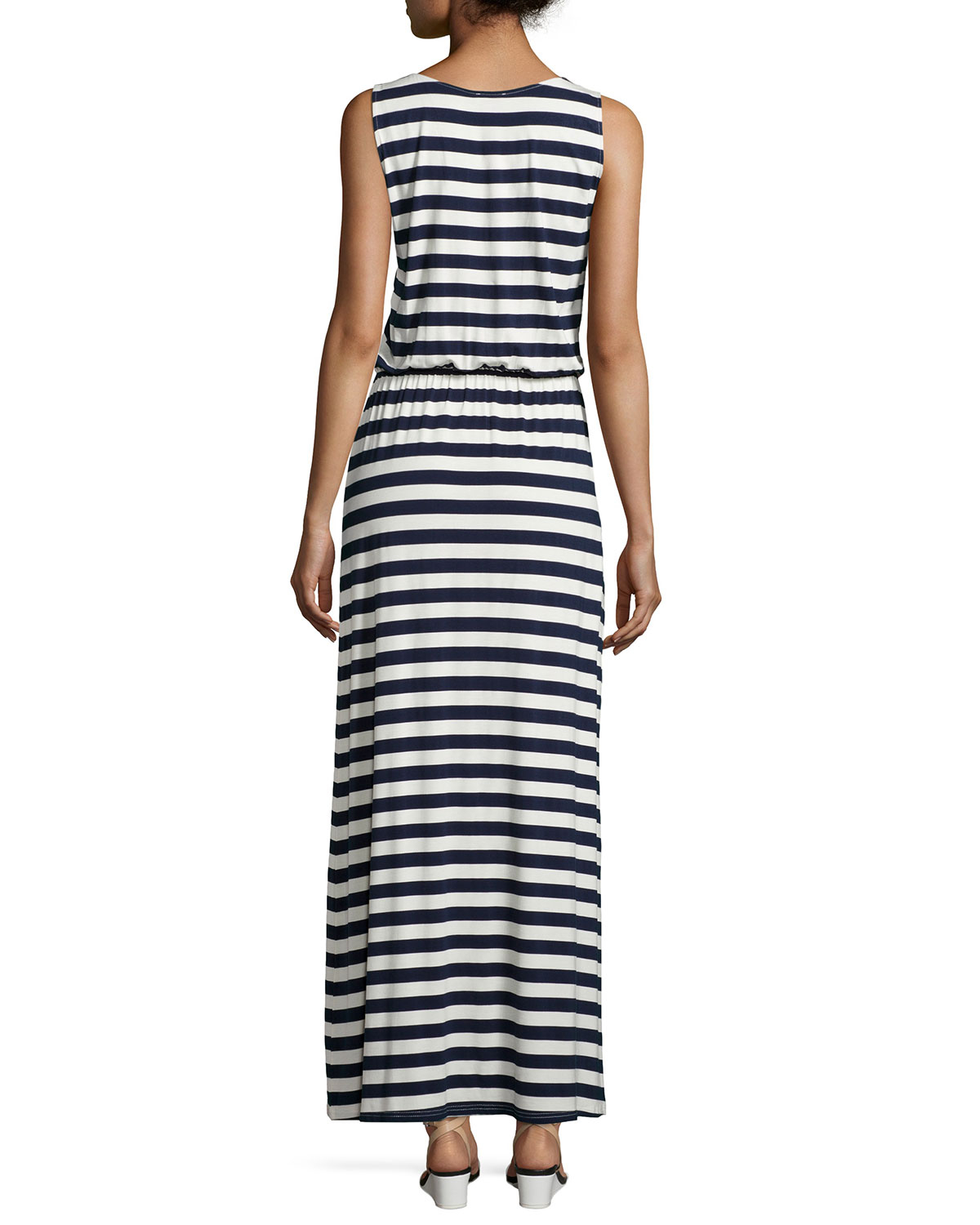 Lyst - Neiman Marcus Striped Maxi Dress W/ Embroidery in Blue