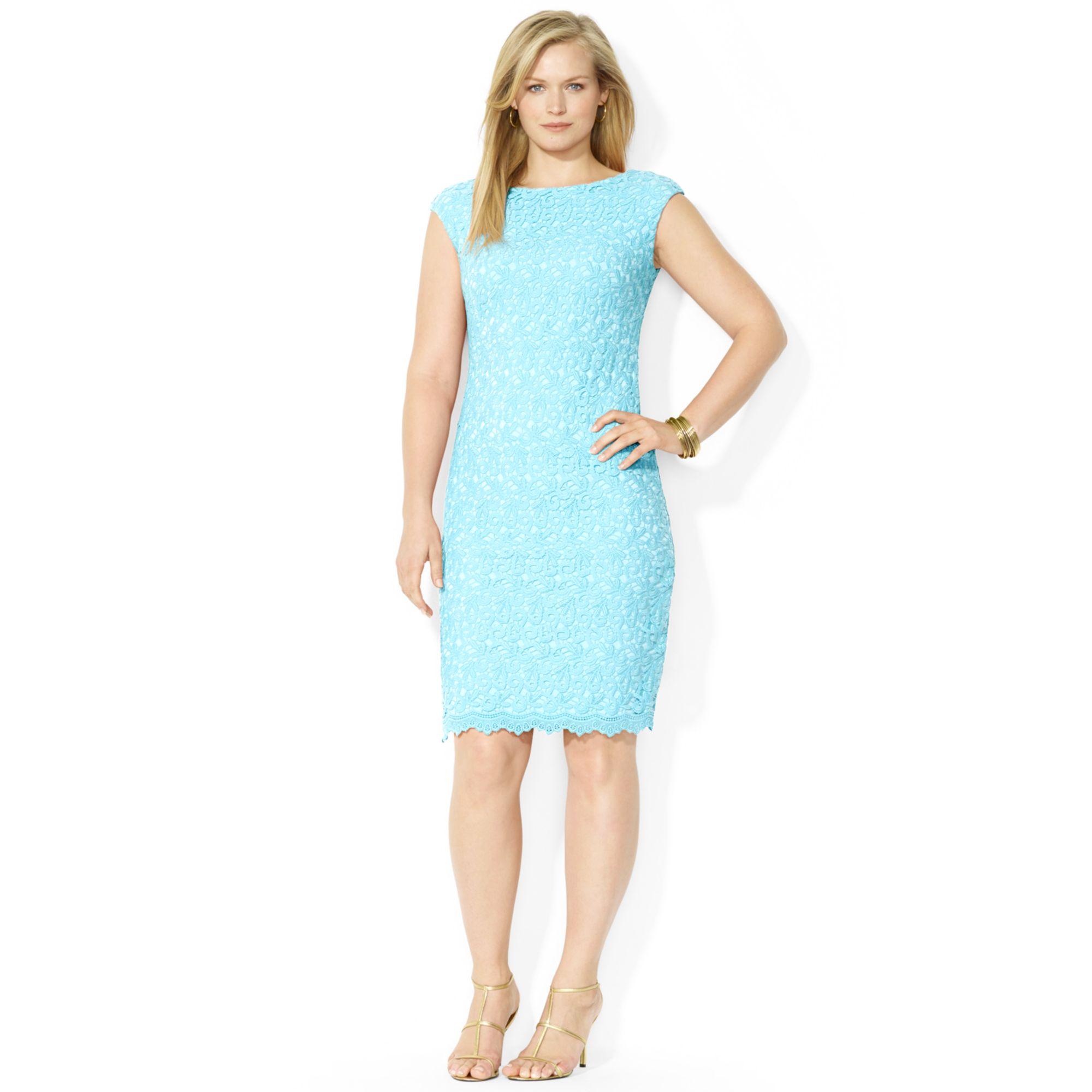 Lyst - Lauren By Ralph Lauren Plus Size Capsleeve Lace Shift Dress ...