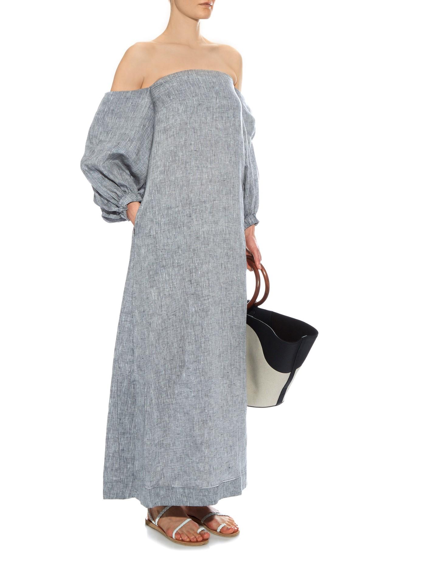Arden off-the-shoulder linen dress Lisa Marie Fernandez gkvejc