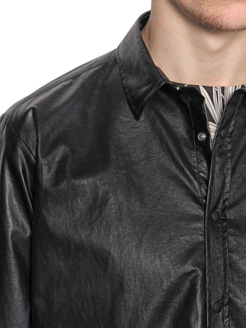 MSGM Faux Leather Shirt in Black for Men