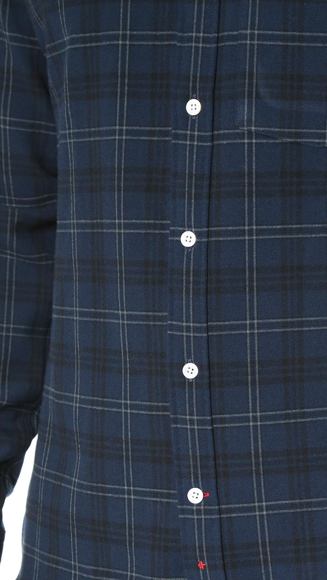 Apolis plaid flannel button down shirt in blue for men lyst for Navy blue plaid shirt