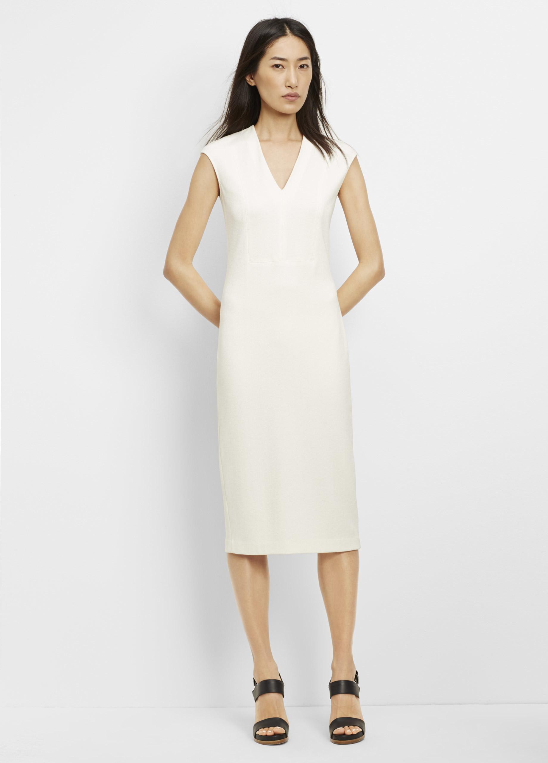 Lyst Vince Textured Ponte V Neck Bib Sheath Dress In White