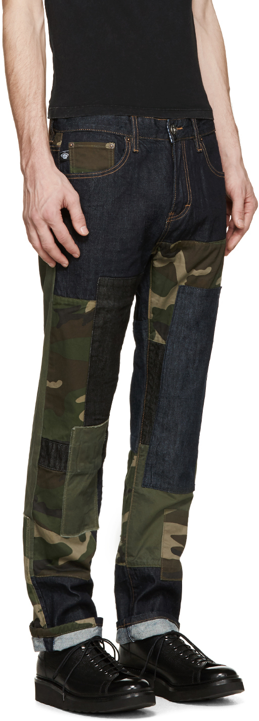 Mostly Heard Rarely Seen Indigo And Camouflage Patchwork Jeans in Blue for Men