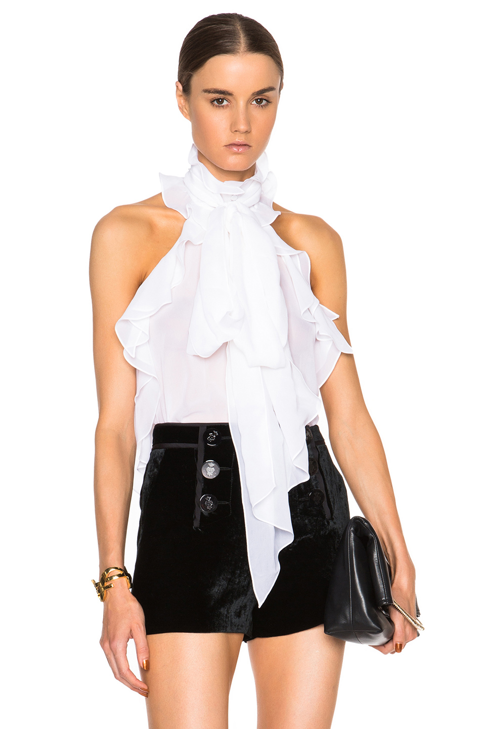 White Ruffled Blouse Sale - Long Blouse With Pants
