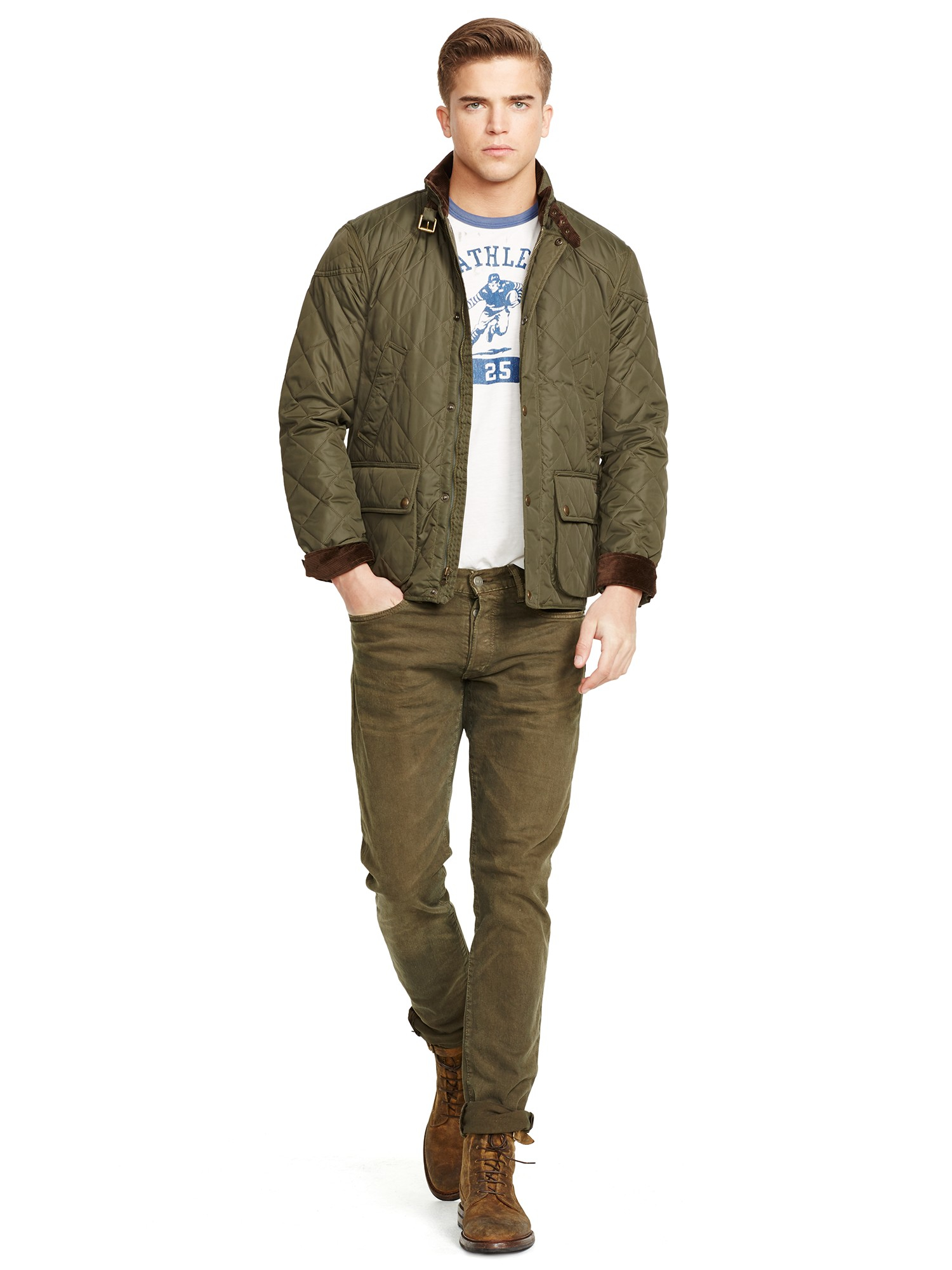 Men Cadwell Green Polo Ralph Lauren Jacket Bomber For Quilted In Lyst y7Ivf6mbgY