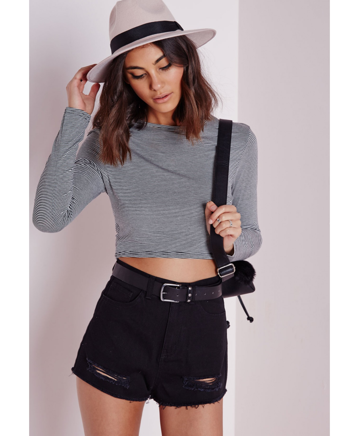 Missguided Ripped Hem Denim Shorts Black in Blue | Lyst