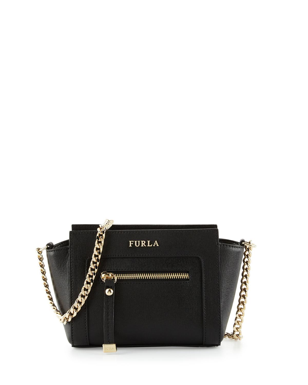 Lyst Furla Ginevra Mini Leather Crossbody Bag In Black
