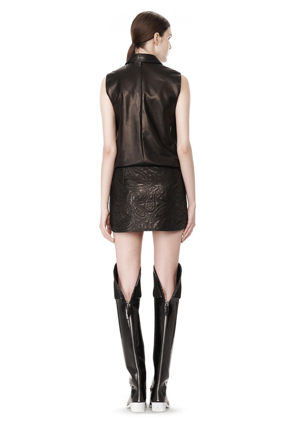 wang paisley quilted leather skirt in black lyst