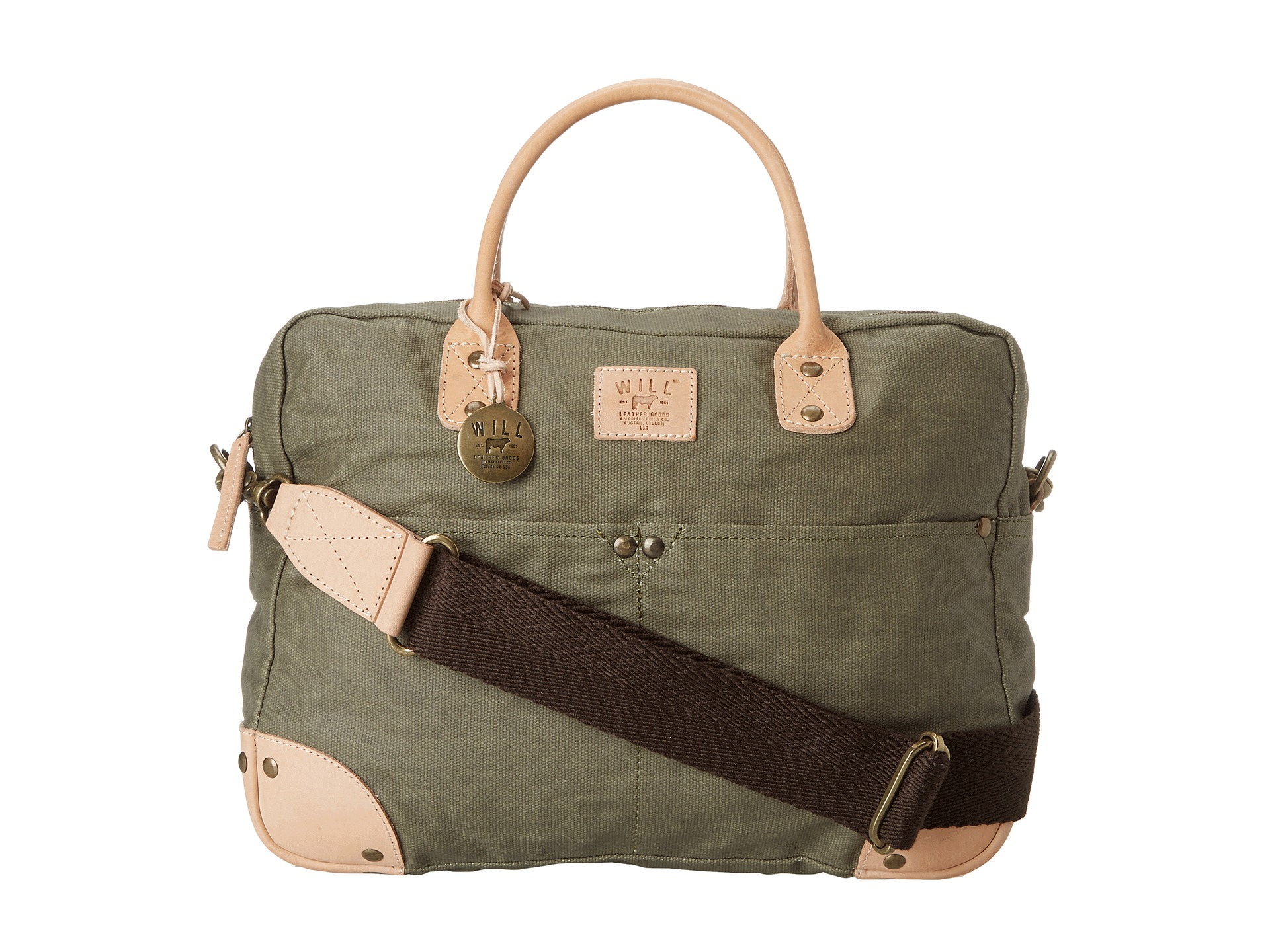 Will Leather Goods Green Wax Canvas Flight Bag for men