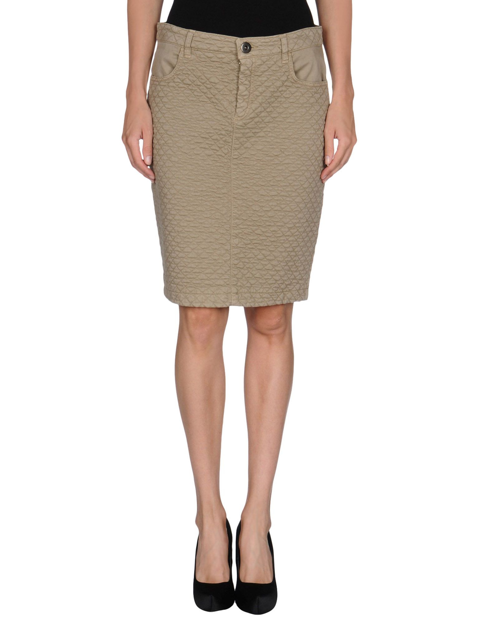 blue les copains knee length skirt in khaki lyst