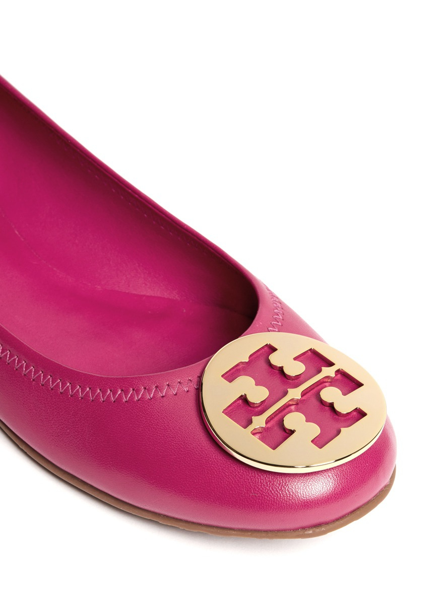 Lyst Tory Burch Reva Leather Ballet Flats In Pink