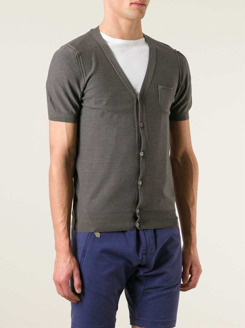 Paolo pecora Short Sleeved Cardigan in Gray for Men | Lyst