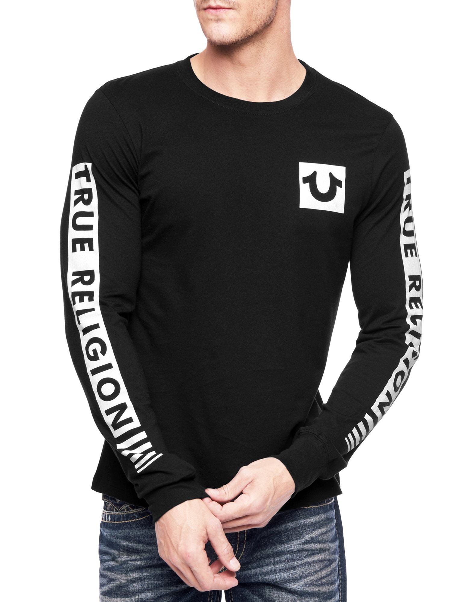 true religion hand picked sleeve fade mens tshirt in