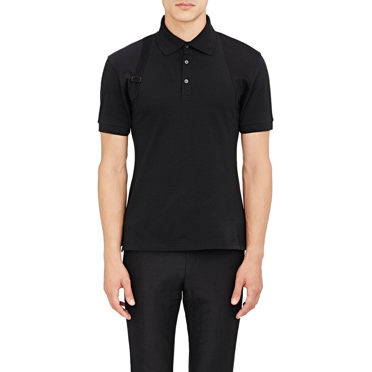 Alexander mcqueen men 39 s trompe l 39 oeil polo shirt in black for Alexander mcqueen shirt men