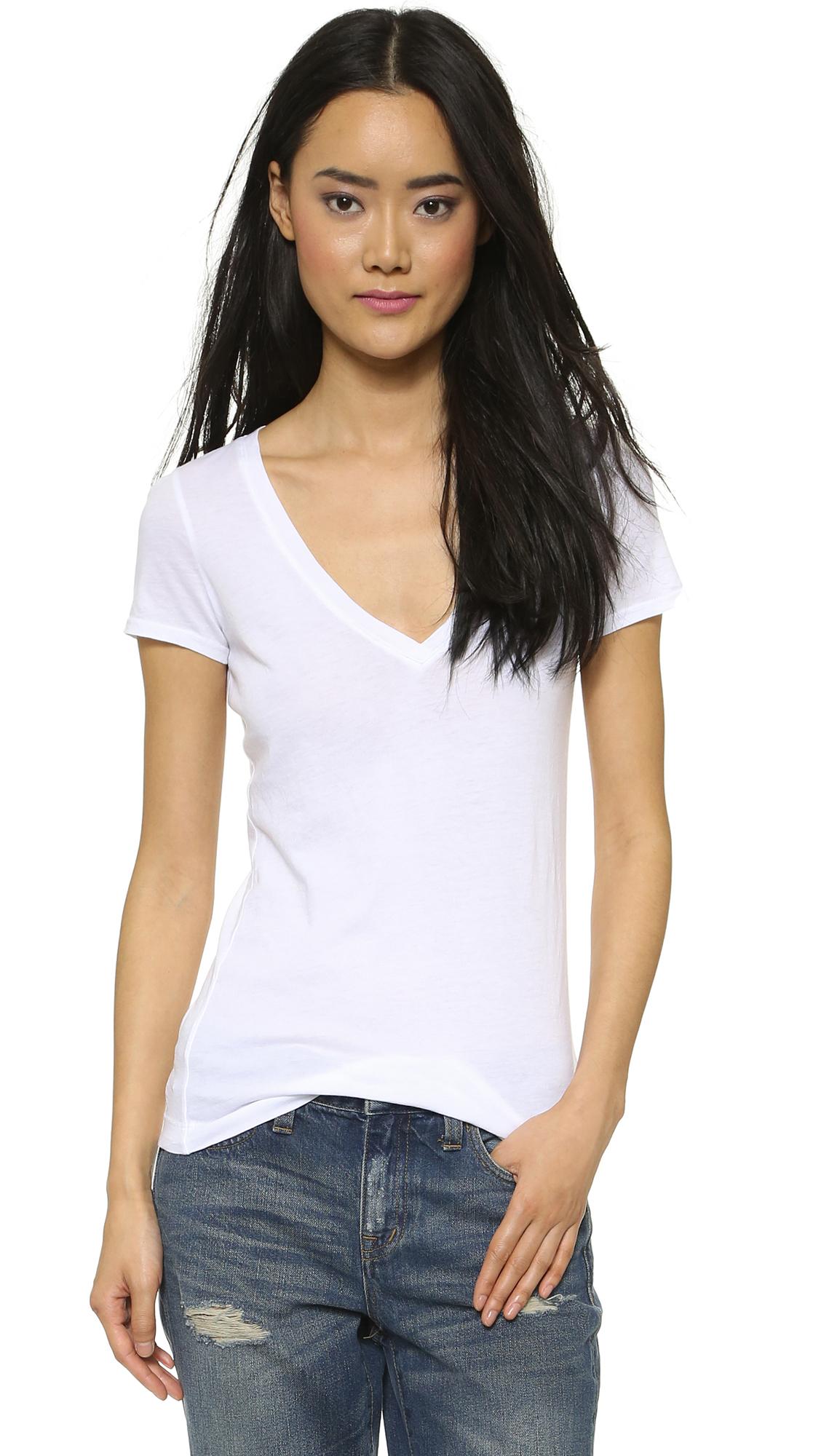 Lyst Three Dots Short Sleeve V Neck Tee White In White
