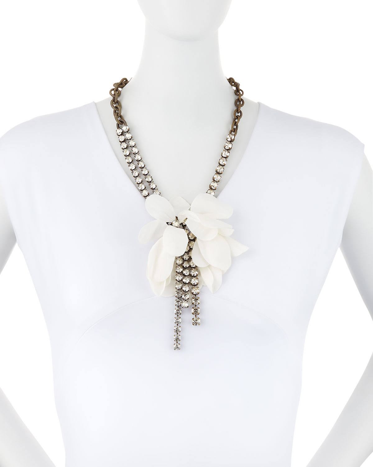 Lanvin crystal-embellished flower necklace - Metallic L8JYtm2yQj