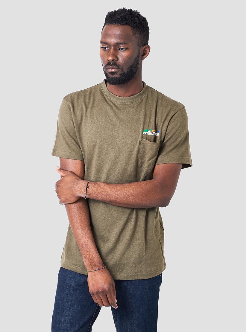 Manastash hemp pocket t shirt sage in brown for men lyst for Mens hemp t shirts