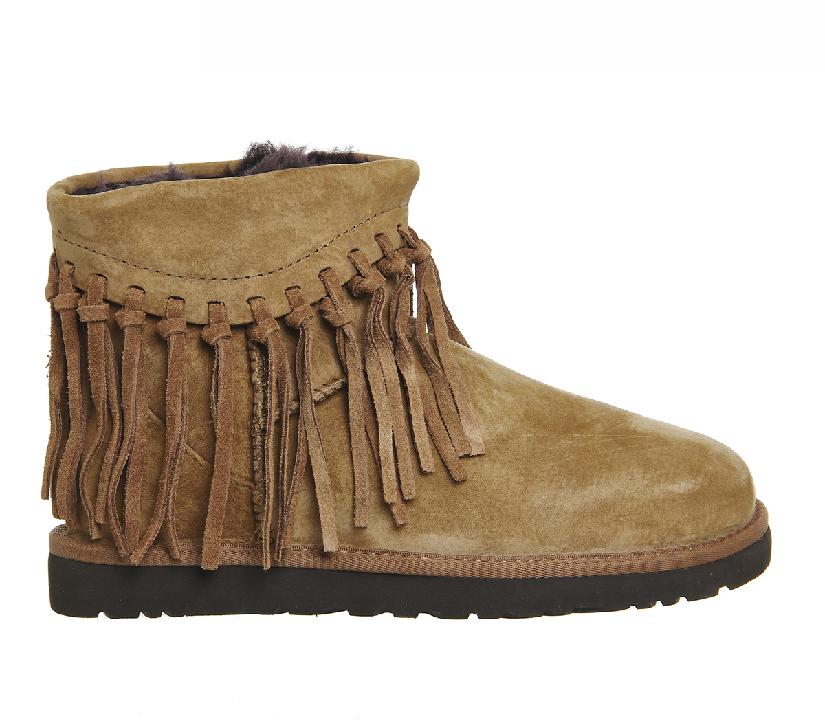 ugg wynona fringe boots in brown lyst