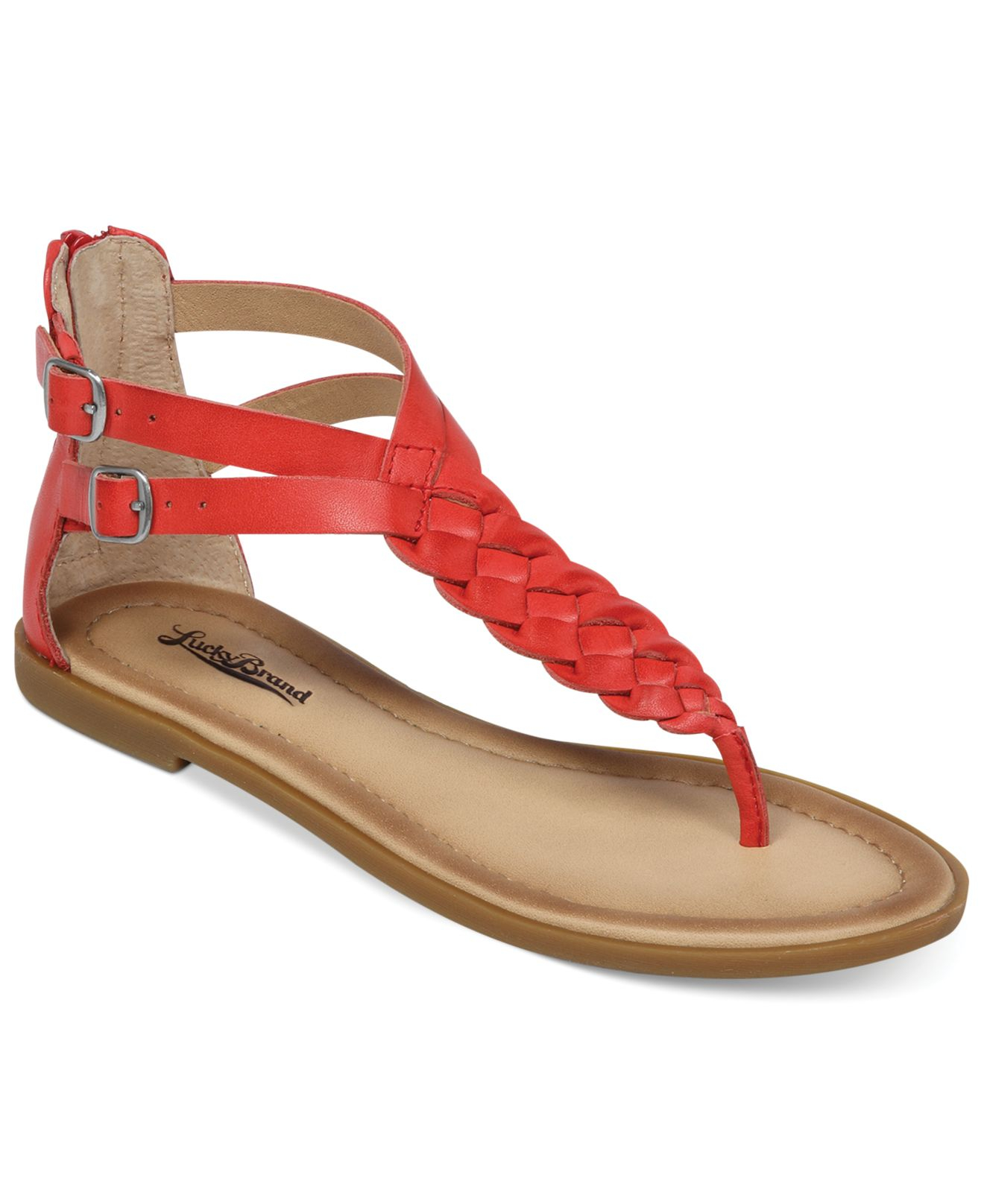 Lucky Brand Womenu0026#39;S Carrolle Flat Thong Sandals In Red (Tomato)   Lyst