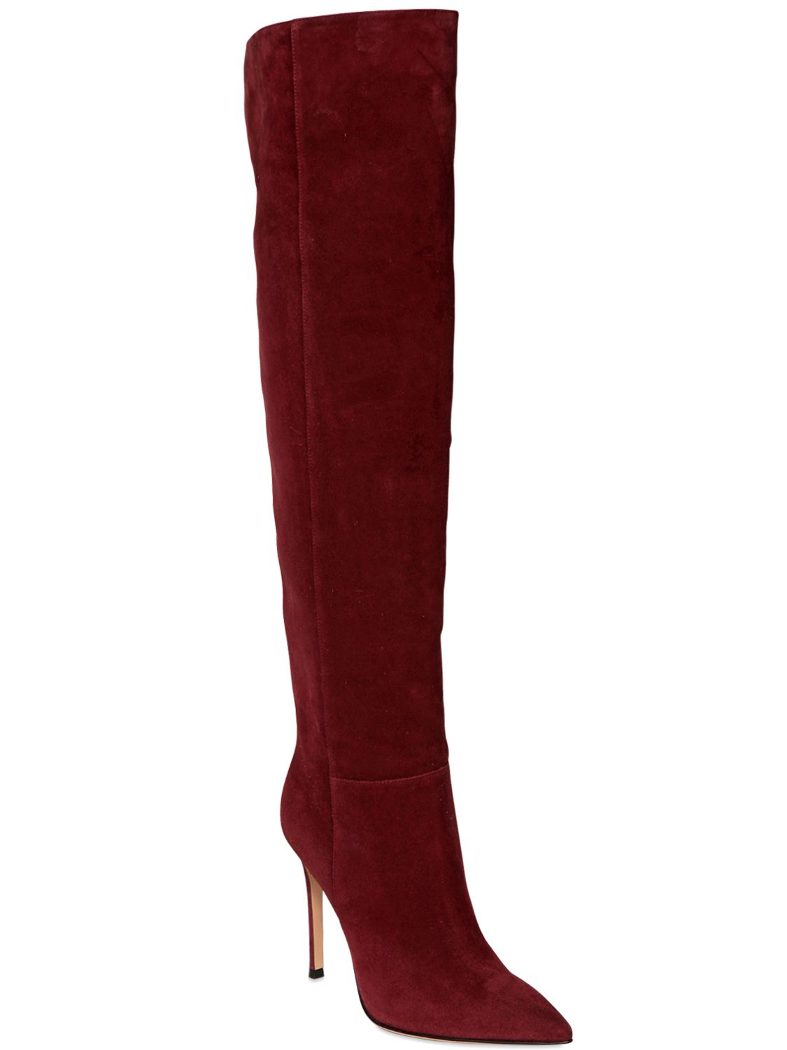 Gianvito Rossi 100mm Suede Knee High Boots in Bordeaux (Red)