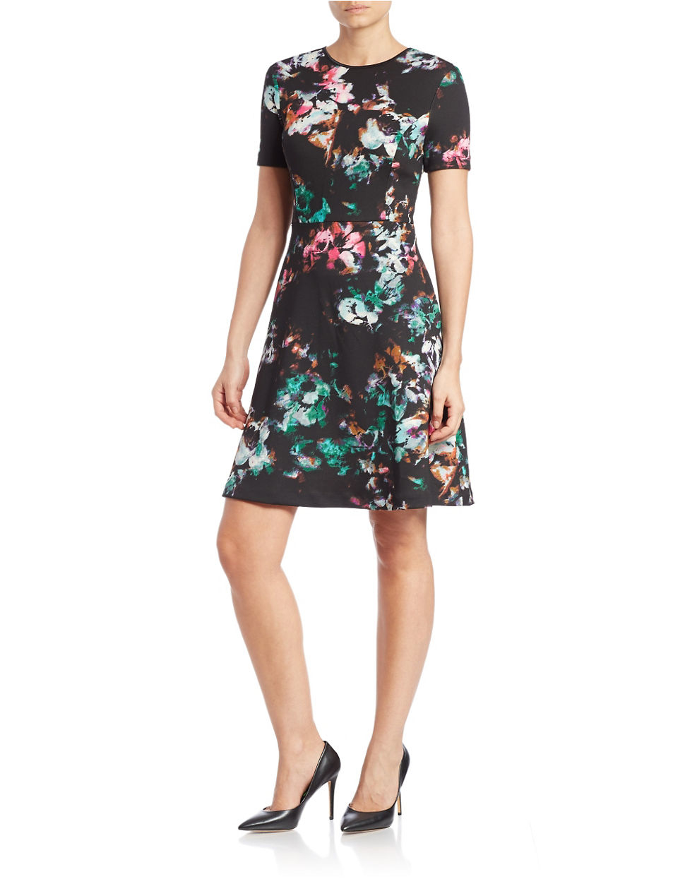 Marc new york floral print fit and flare dress lyst for New york and company dress shirts