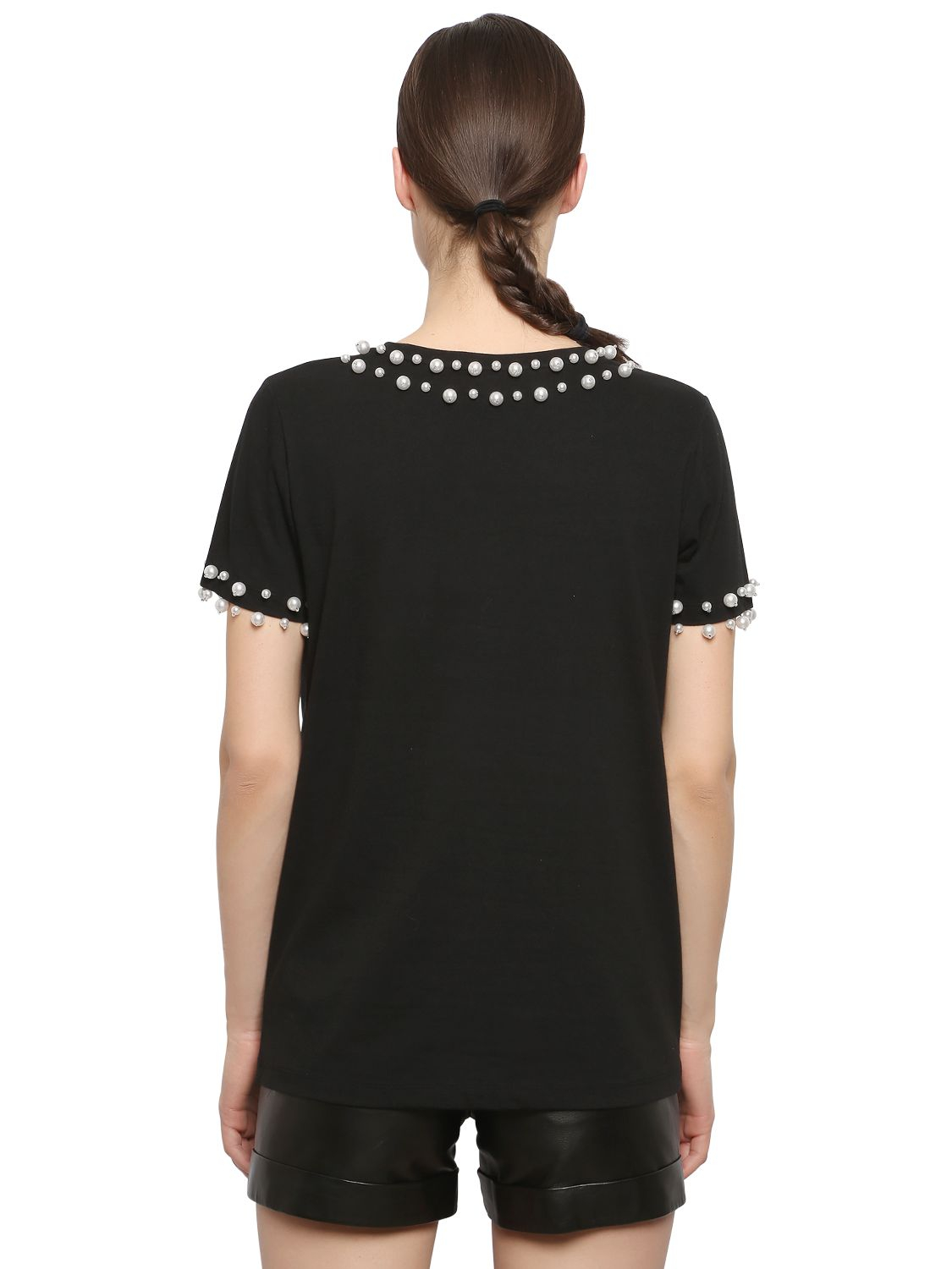Lyst Dkny Bead Embellished Cotton T Shirt In Black