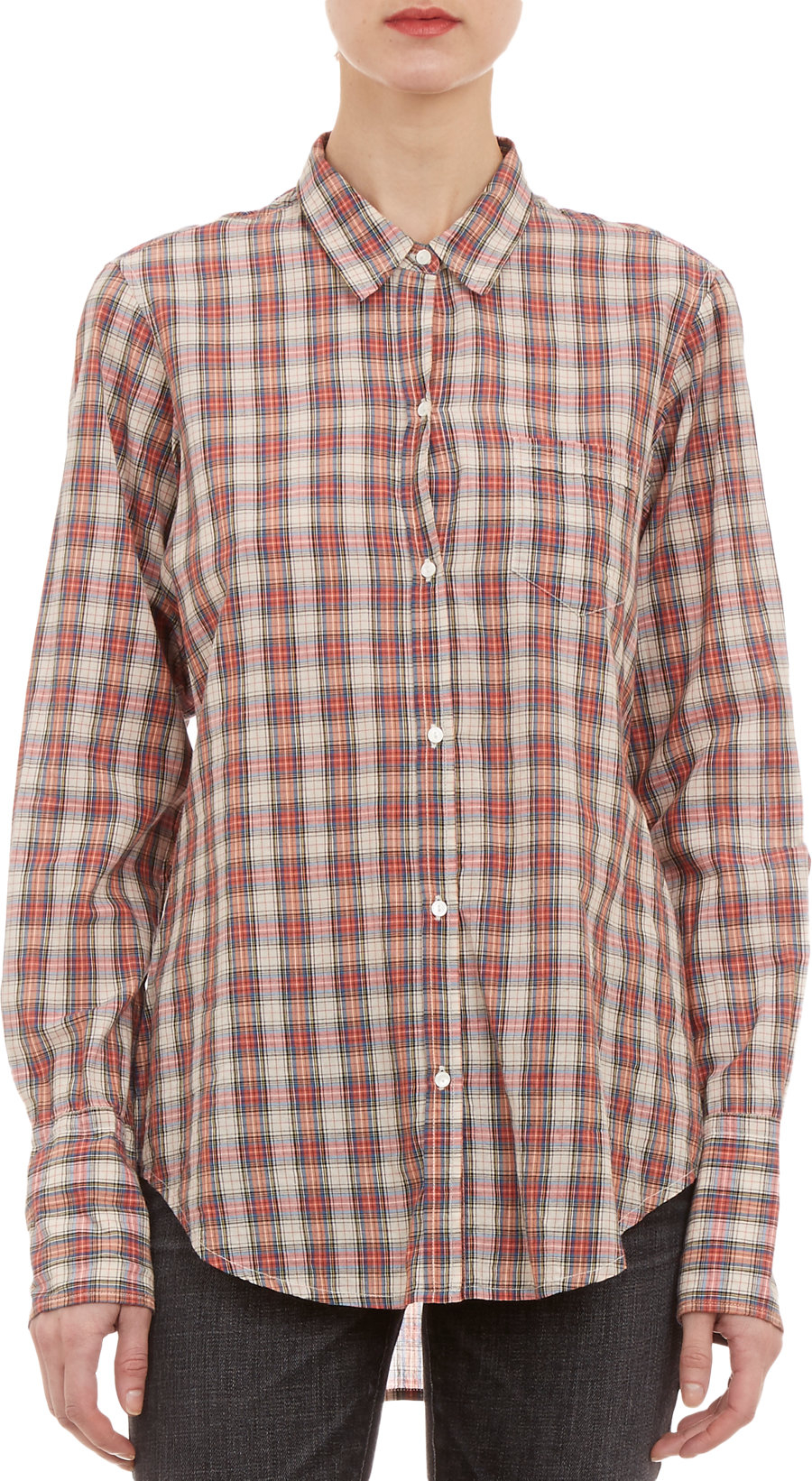 Lyst Nili Lotan Tartan Plaid Shirt In Red