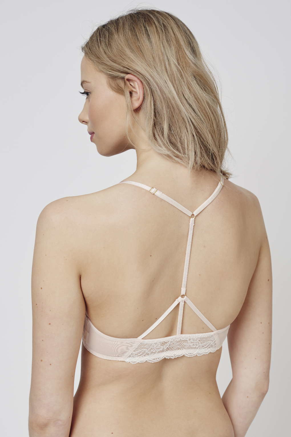 68ba65705b Lyst - TOPSHOP Mesh And Lace Triangle Bra in Natural