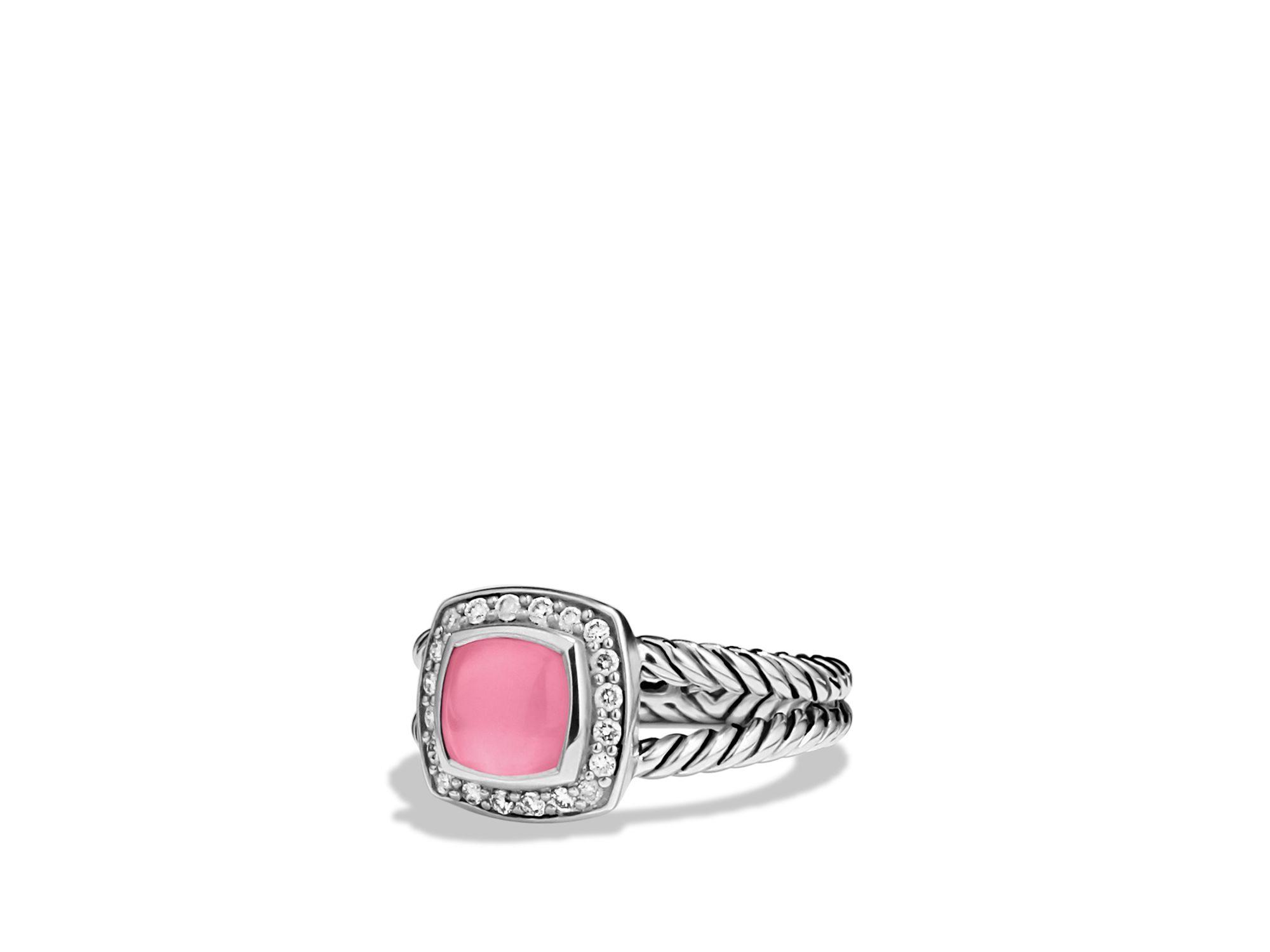 Lyst David Yurman Petite Albion Ring With Pink Tourmaline Amp Diamonds In Pink