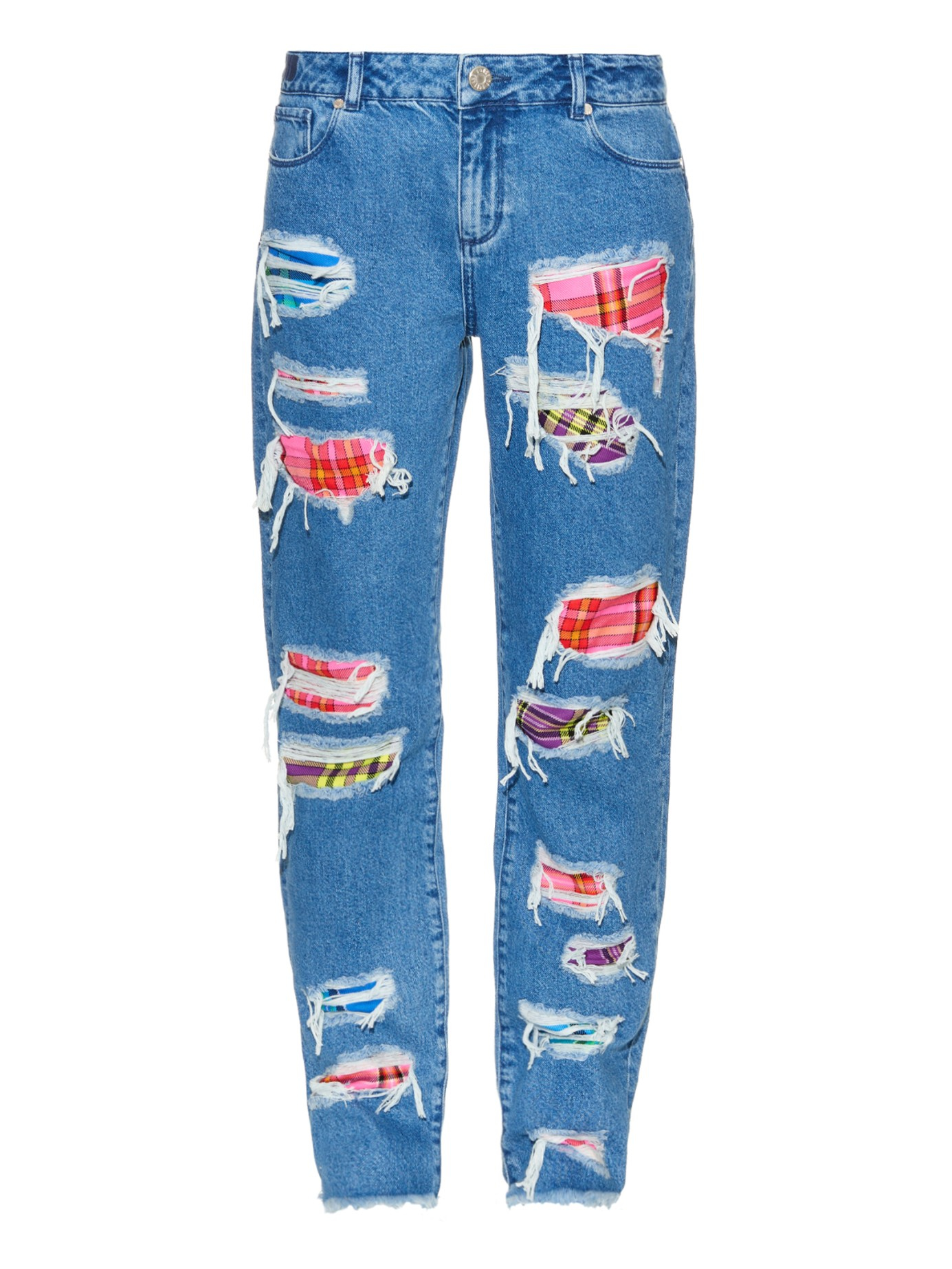 House Of Holland Distressed Patchwork Jeans In Multicolor Denim Lyst