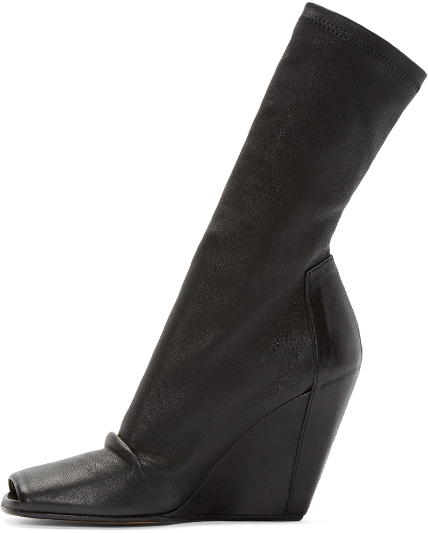 rick owens black stretch leather wedge boots in black lyst