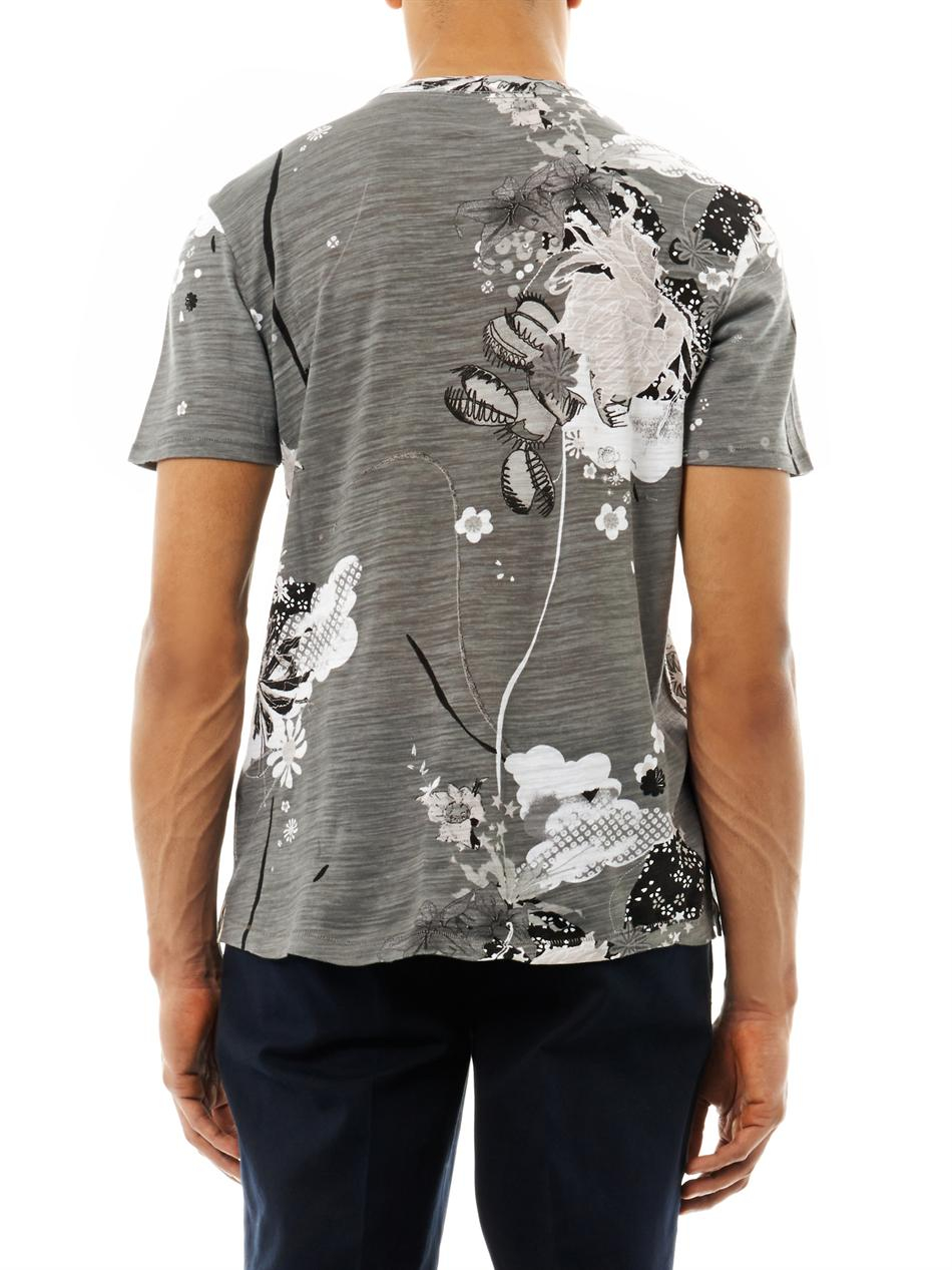 Rag bone leo floralprint tshirt in gray for men lyst for Rag and bone t shirts