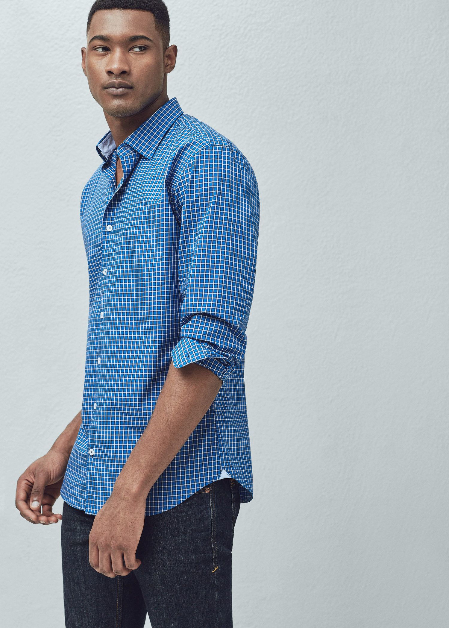 Lyst mango slim fit gingham check shirt in blue for men for Slim fit gingham check shirt