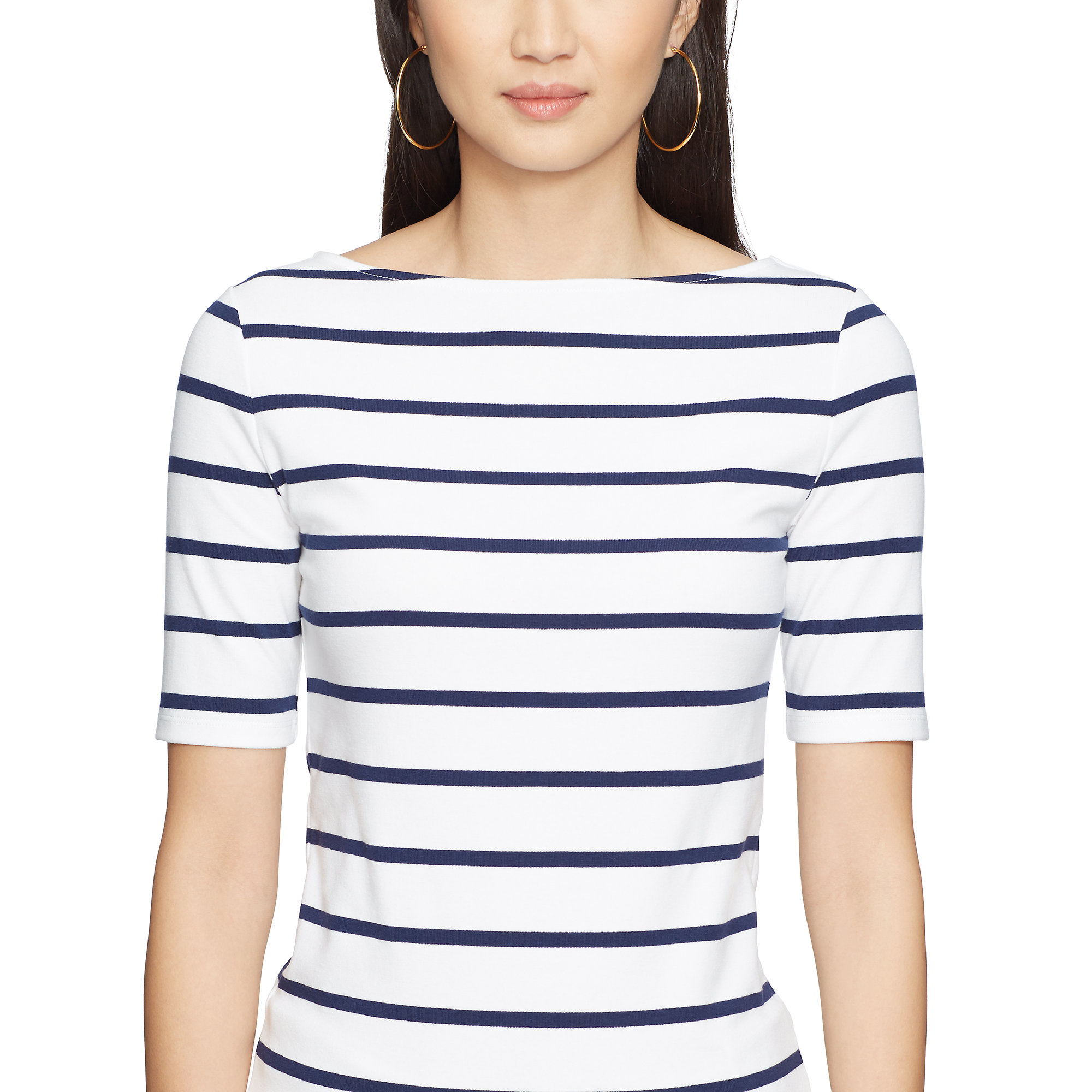 Pink Pony Striped Boatneck Jersey Top In Blue Lyst