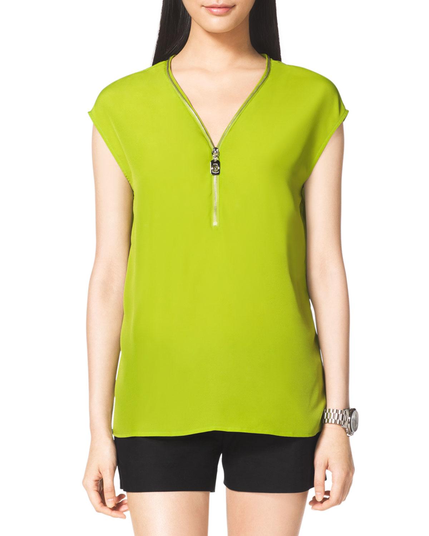 michael michael kors ziptrim blouse in green fresh lime lyst. Black Bedroom Furniture Sets. Home Design Ideas
