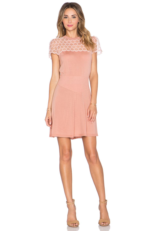 ffb470f46fbd2 RED Valentino Scallop Neck Mini Dress in Pink - Lyst