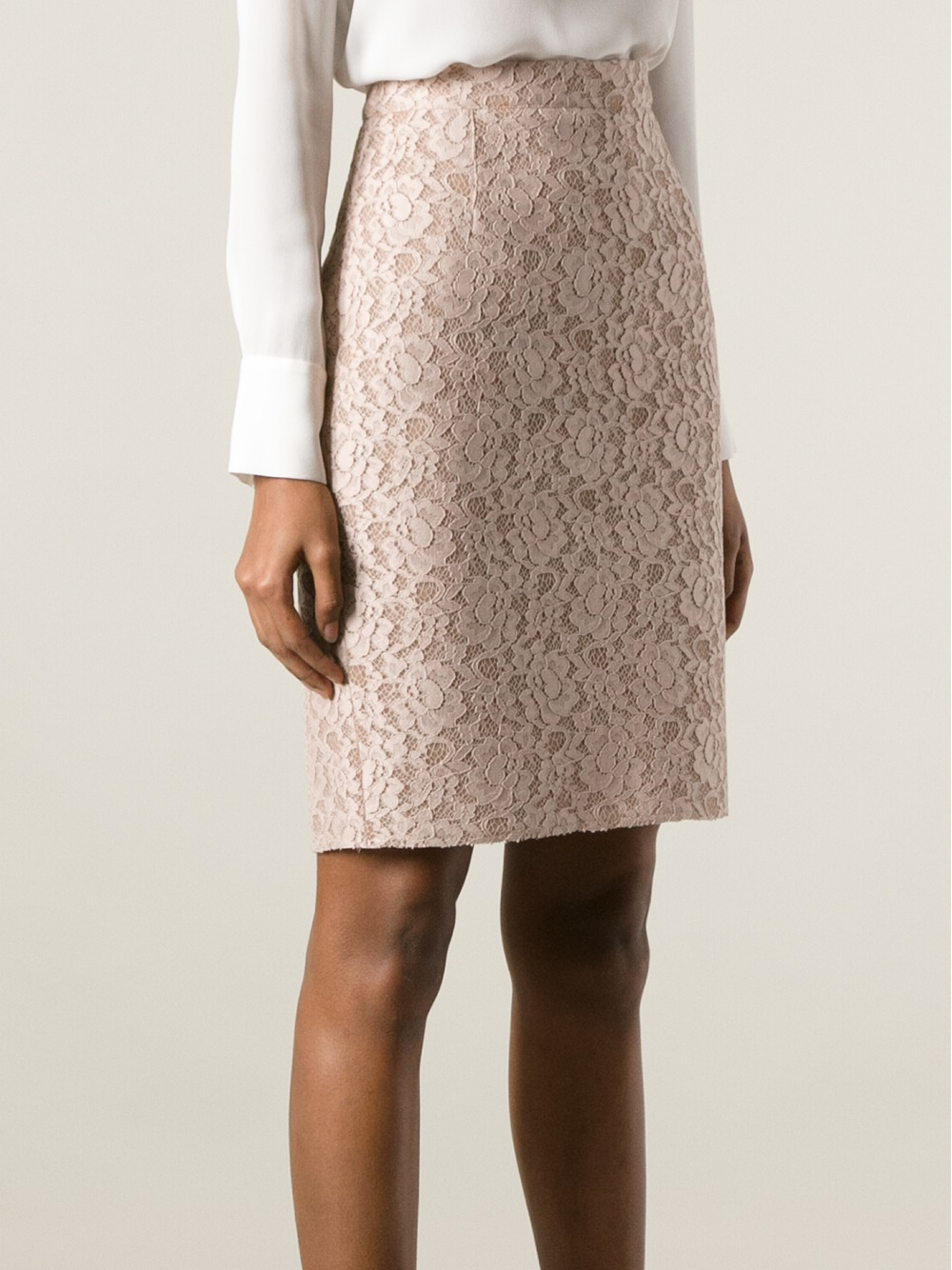 Lanvin Lace Pencil Skirt in Natural | Lyst
