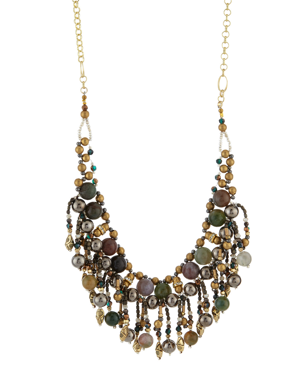 Nakamol Crystal & Stone Chain Fringe Bib Necklace JqZNJLl