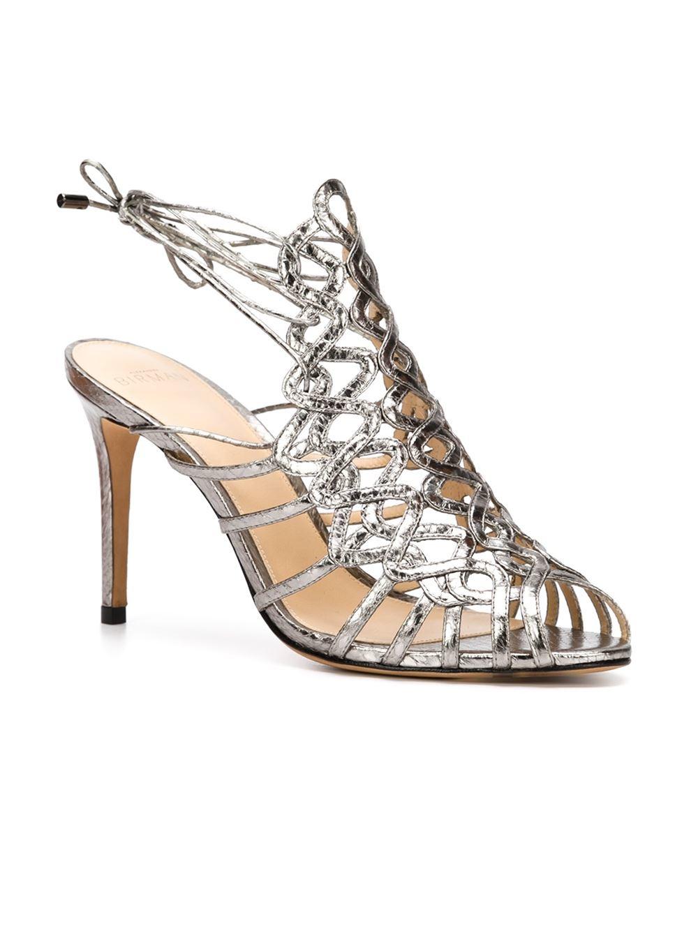 Alexandre birman Strappy Metallic Cage Sandals in Gray | Lyst