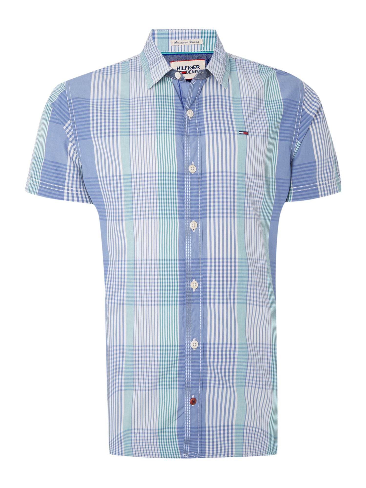 Tommy Hilfiger Lawrence Short Sleeve Check Shirt In Blue