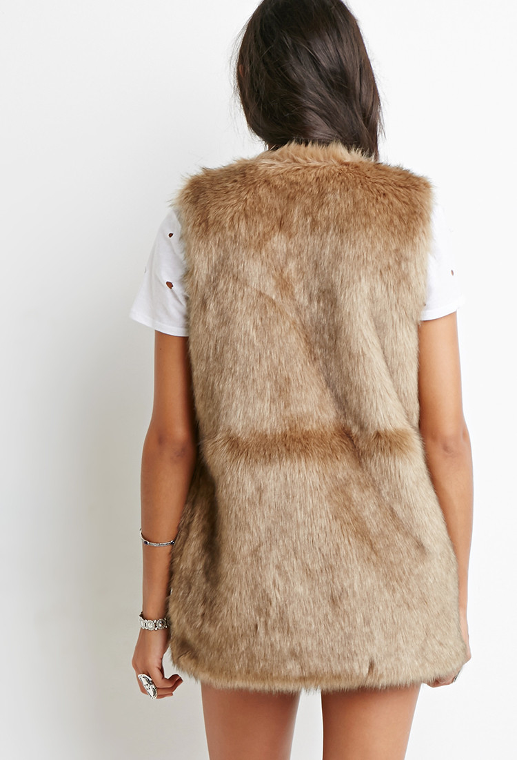 Lyst Forever 21 Faux Fur Vest In Brown