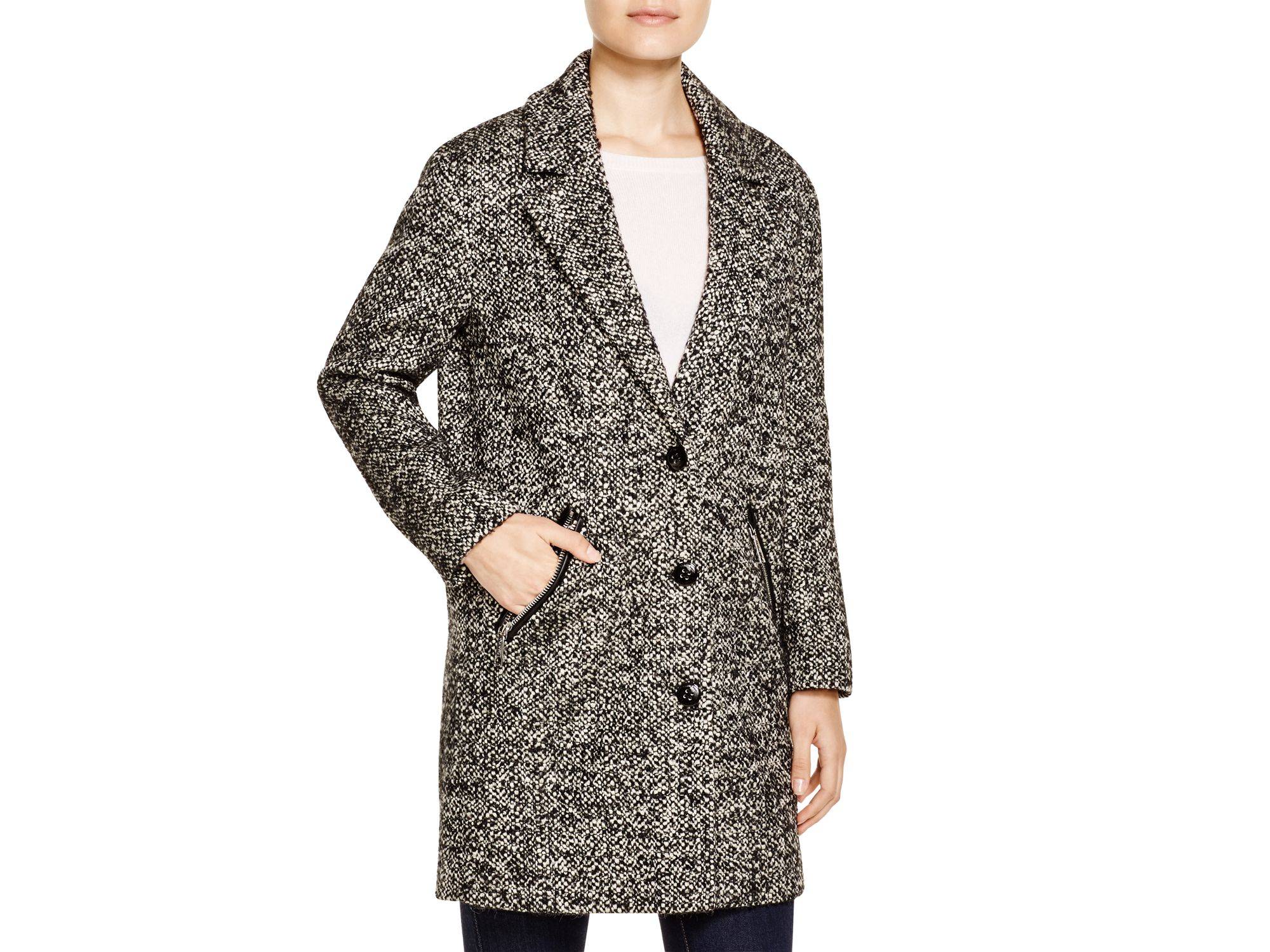 Calvin klein Blazer-style Tweed Coat in Black | Lyst