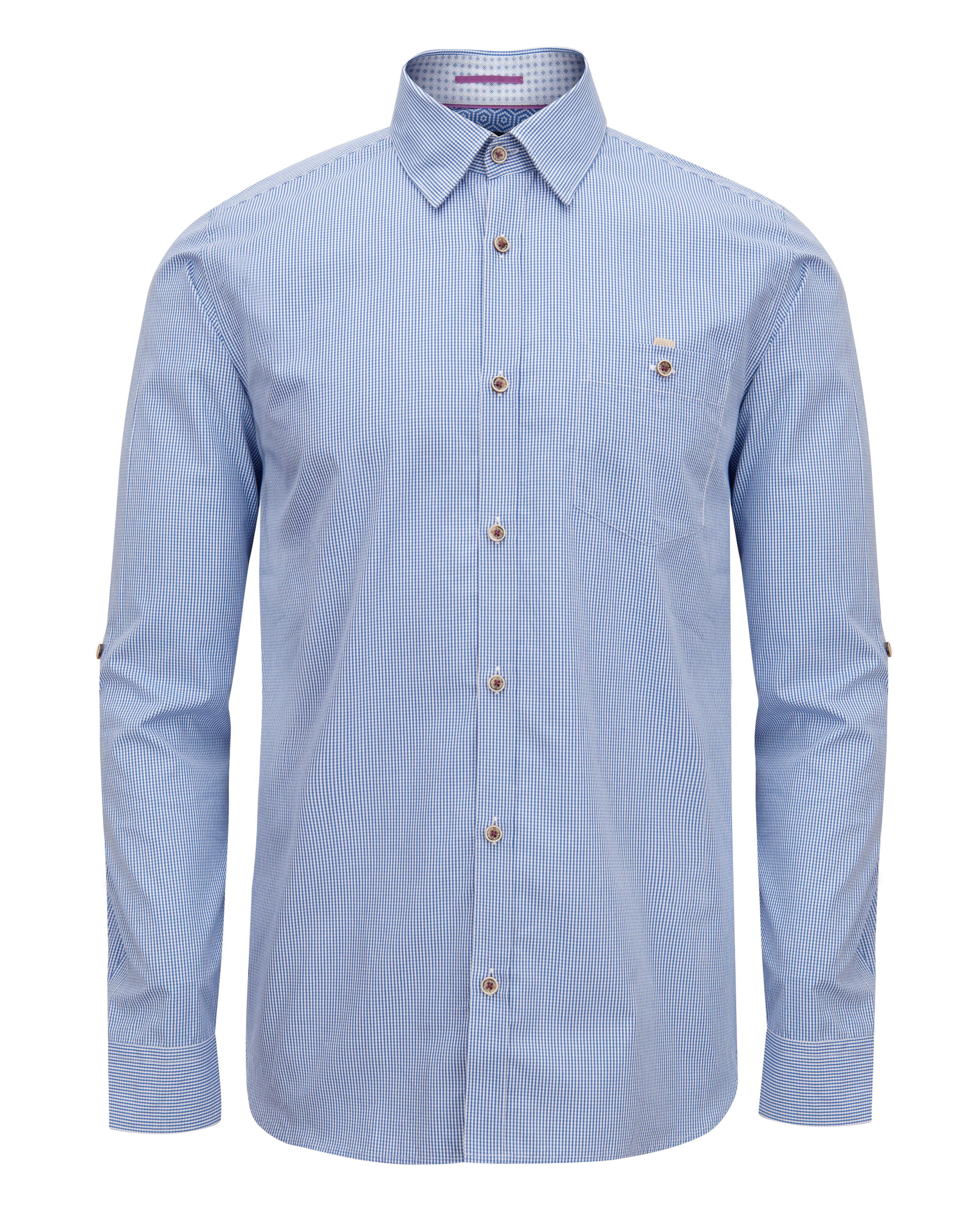 Lyst ted baker softchk long sleeve check shirt in blue for Ted baker blue shirt